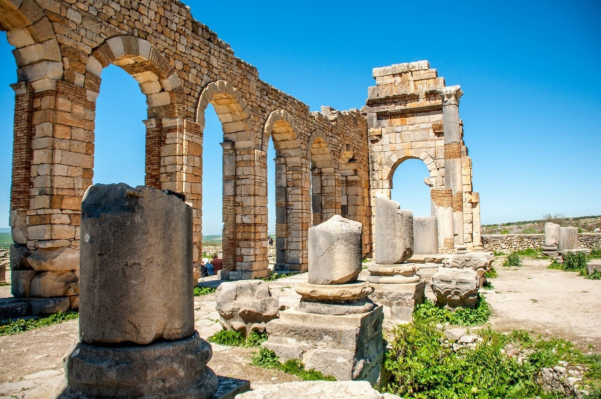 The basilica at Volubilis, Roman ruins in Morocco
