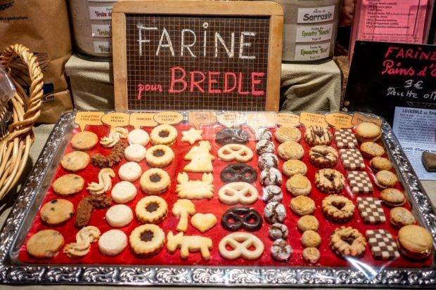 Varieties of bredele, traditional Christmas cookies for sale at an Alsace Christmas market