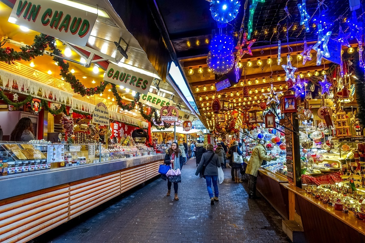 Food and decoration stalls at the Christkindelsmarik, the oldest of the Christmas markets in Strasbourg, France
