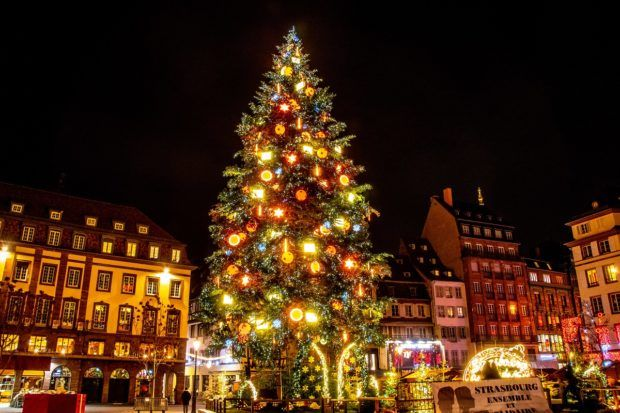 The Christmas tree in Place Kleber lit up at night. The tree is the symbol of the Strasbourg market, one of the best Christmas markets in Europe.
