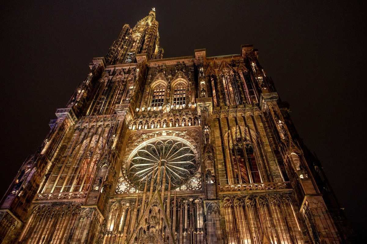 Close up of ornate Strasbourg Cathedral at night