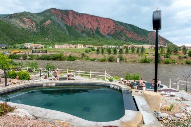 The Iron Mountain Hot Springs in Glenwood Springs, Colorado. Located on the banks of the Colorado River, this is the newest hot springs resort in Colorado.