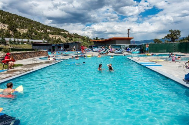 The upper pool and water slide at the Mount Princeton Hot Springs in Colorado.