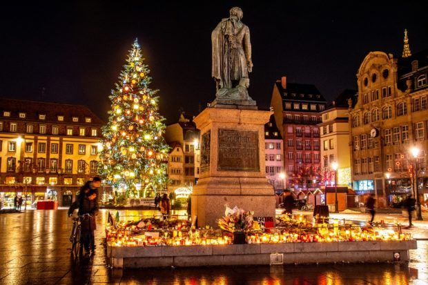 A memorial in Place Kleber honors those who were wounded and killed in an attack at the Strasbourg Christmas market.
