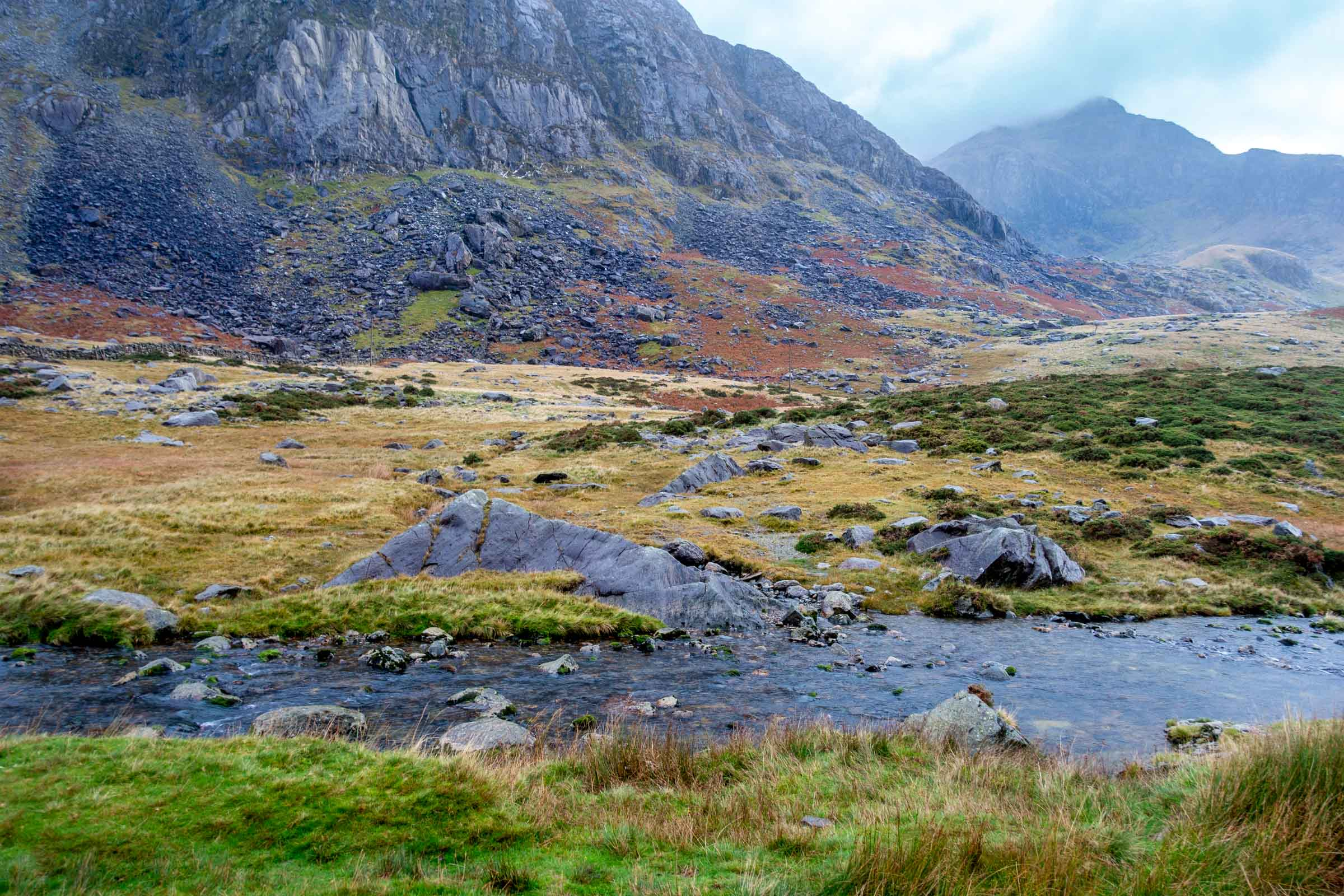 Mountains and stream in Snowdonia National Park in Wales