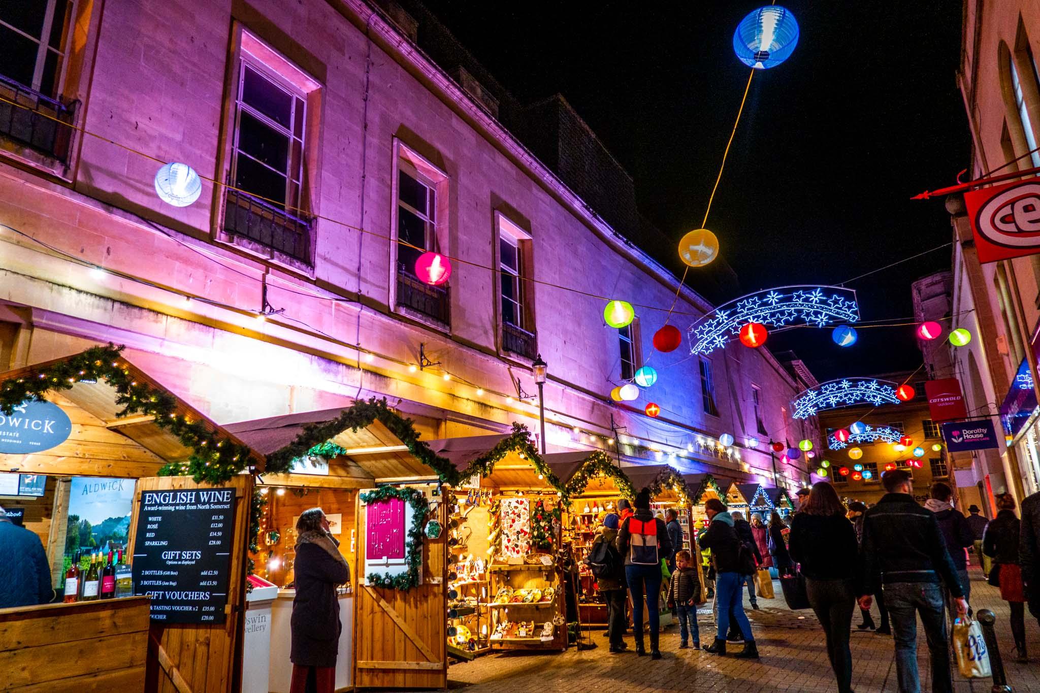 Market stalls along Abbeygate Street in Bath, England