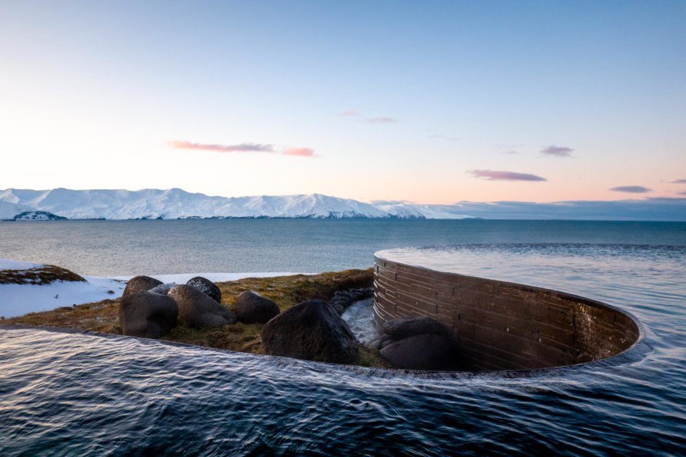 The infinity pool at the Iceland baths of GeoSea in Husavik.