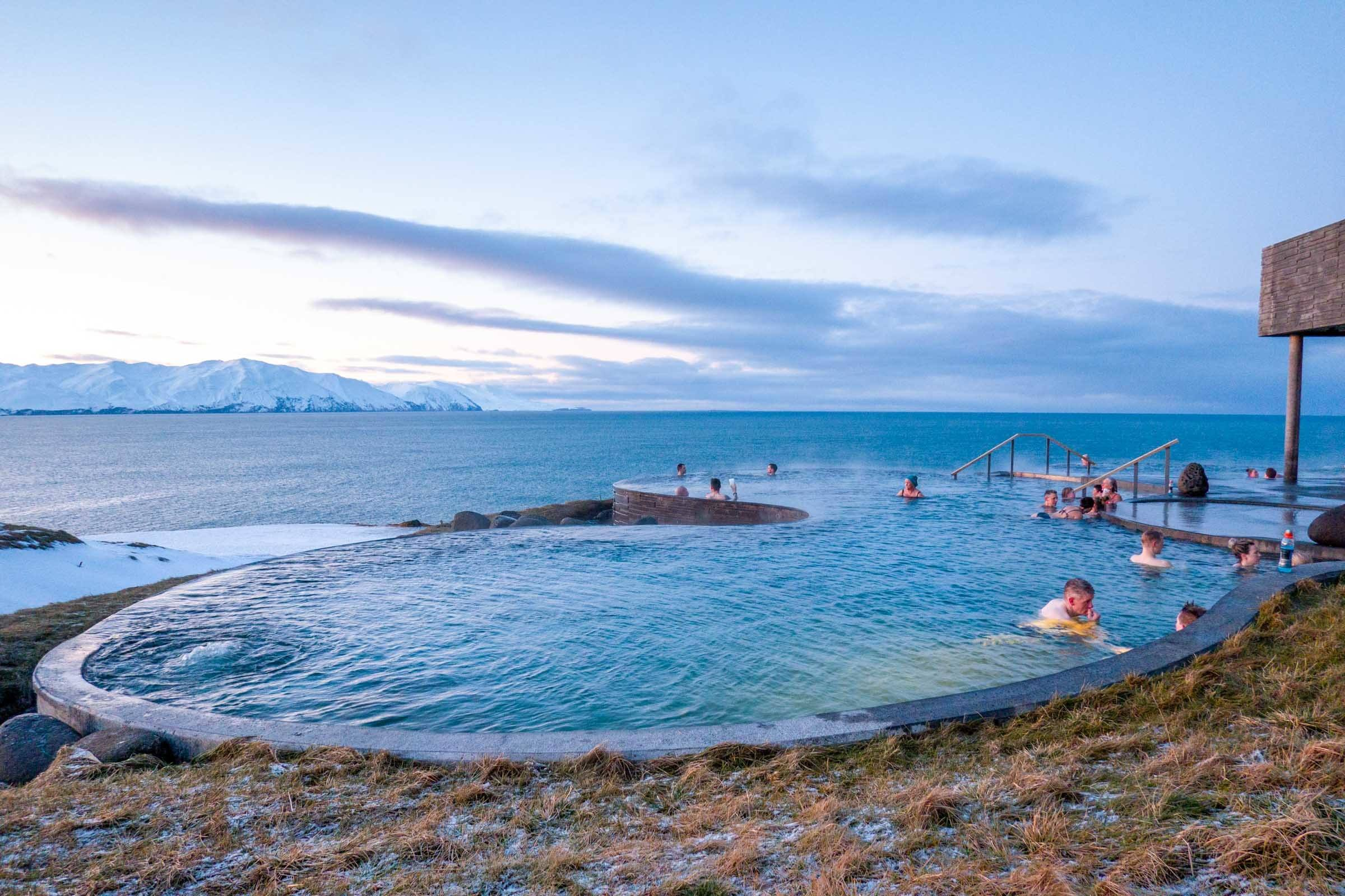 Infinity pools at the Husavik GeoSea geothermal baths close early in the winter