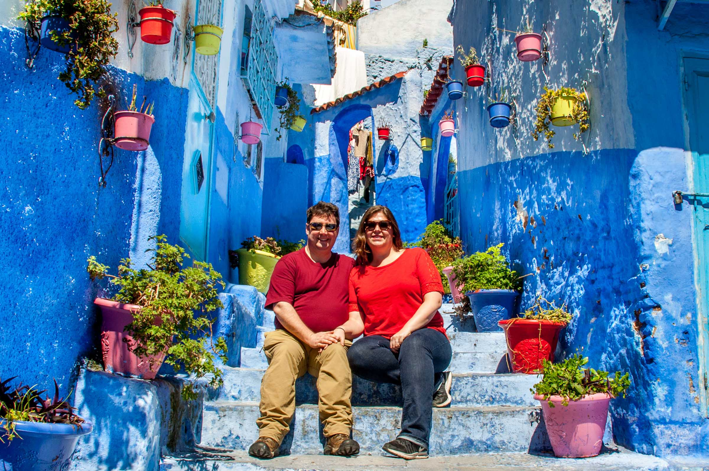 Lance and Laura, the Travel Addicts, in Chefchaouen, Morocco