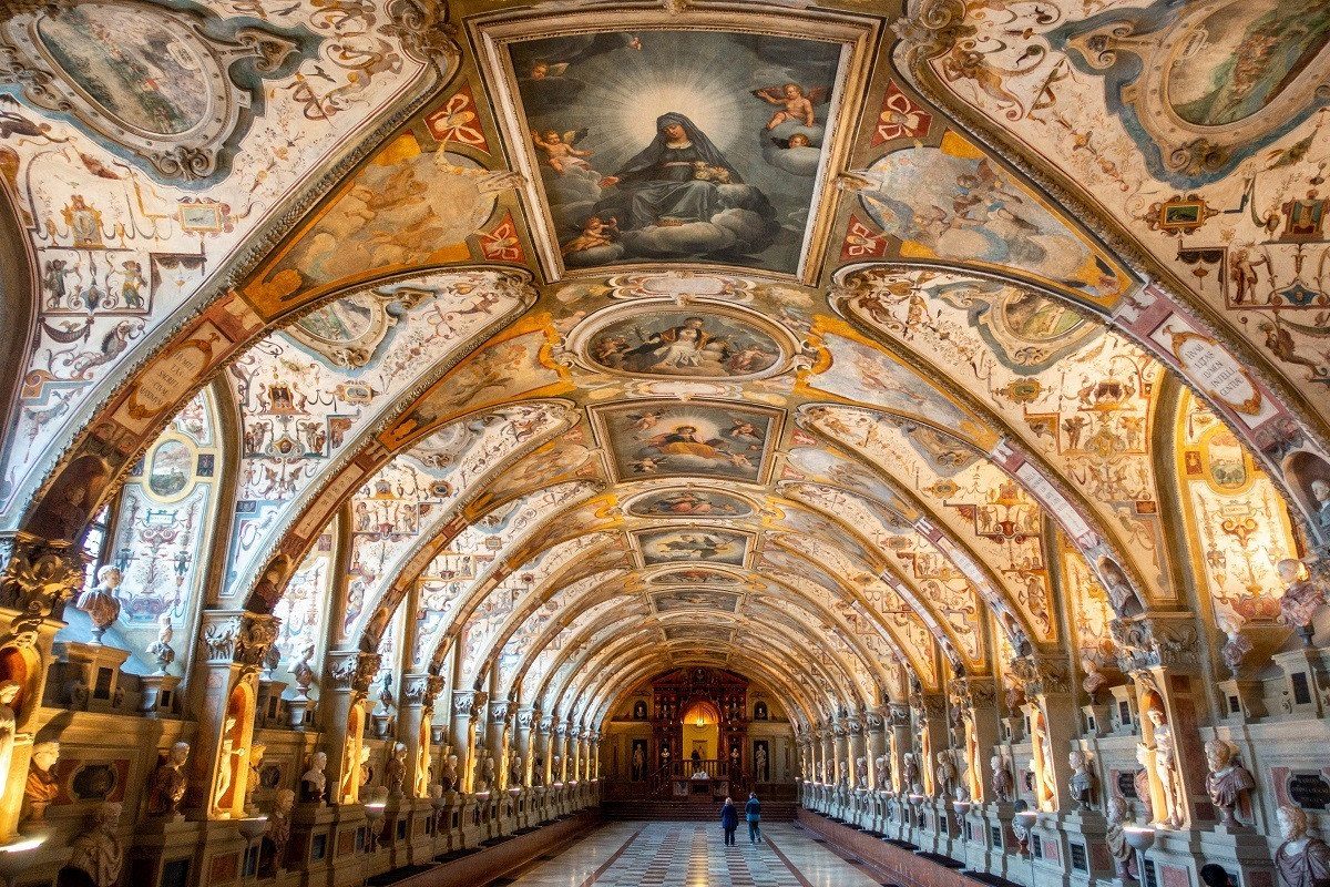 Arched painted ceiling of Antiquarium Hall at Nyphemburg Palace in Munich