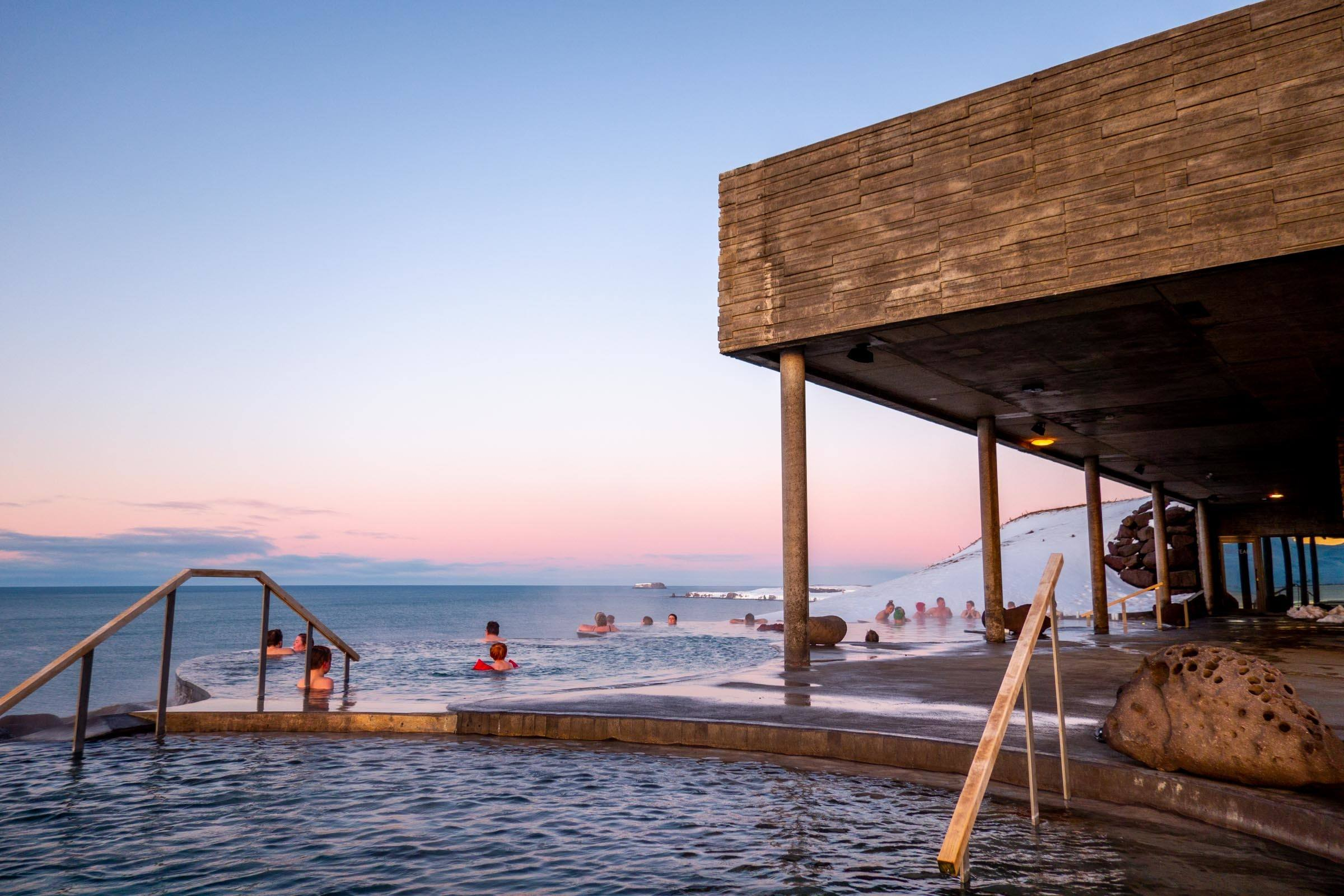 Infinity pools at the GeoSea Spa in Husavik
