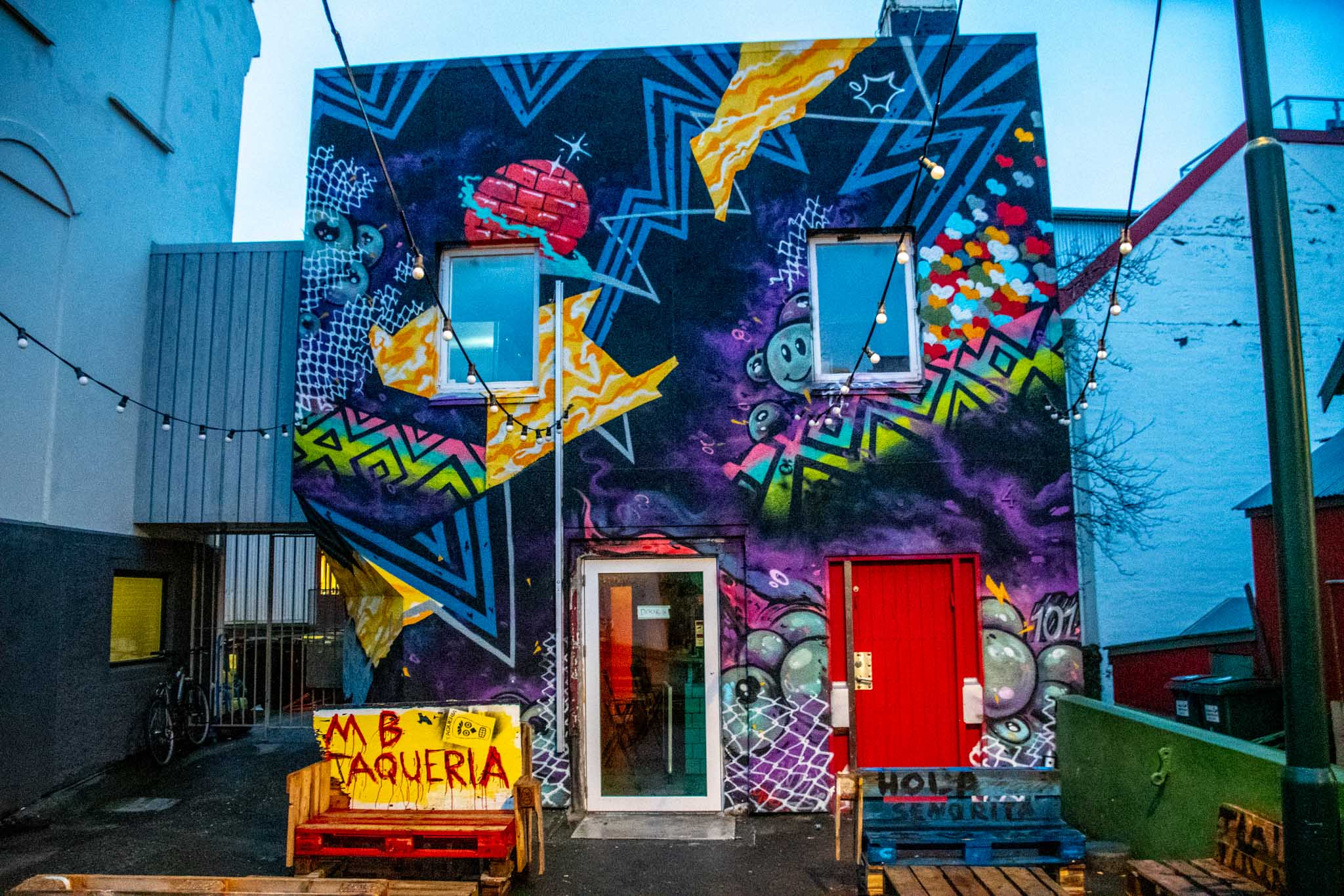 Wall murals at MB Taqueria