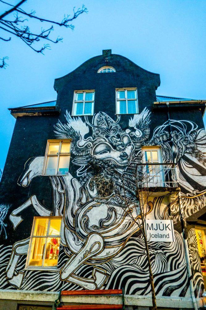 Caratoes mural on Laugavegur street created for the Urban Nation Wallpoetry program during Iceland Airwaves.
