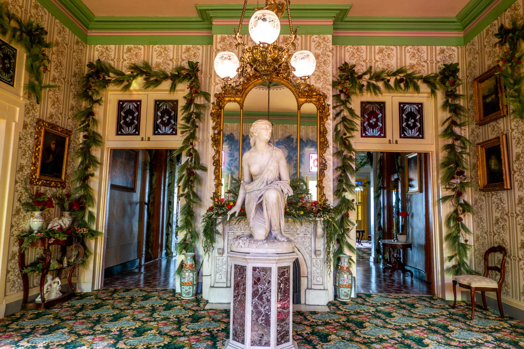 Ruth Gleaning, marble statue in the entryway at Belmont Mansion