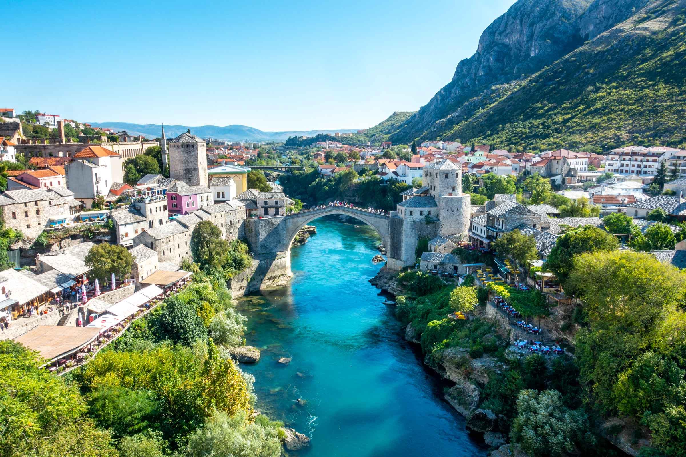 Stari Most bridge and Old Town Mostar, Bosnia and Herzegovina