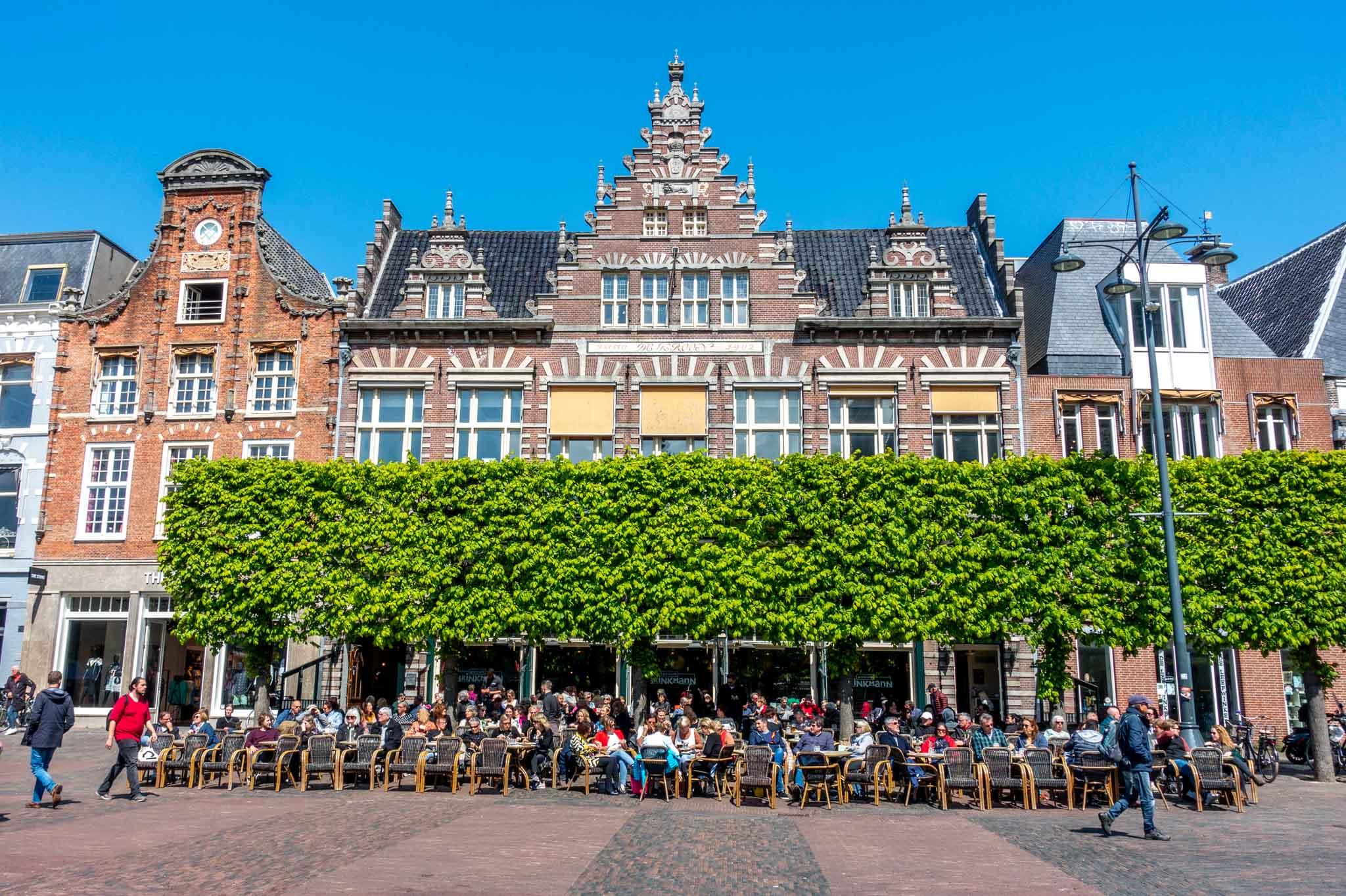 Outdoor cafe in Haarlem's Grote Markt