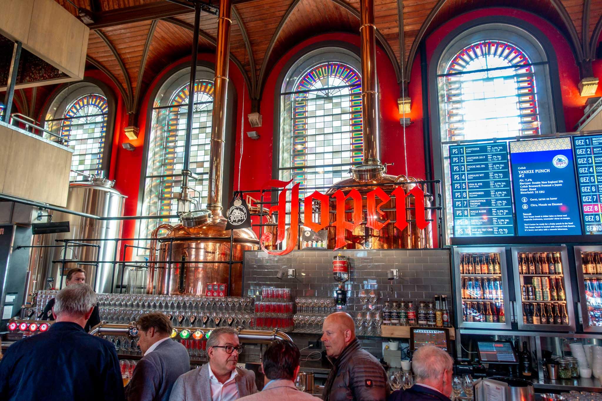 Bar inside De Jopenkerk, a former church transformed into a brewery
