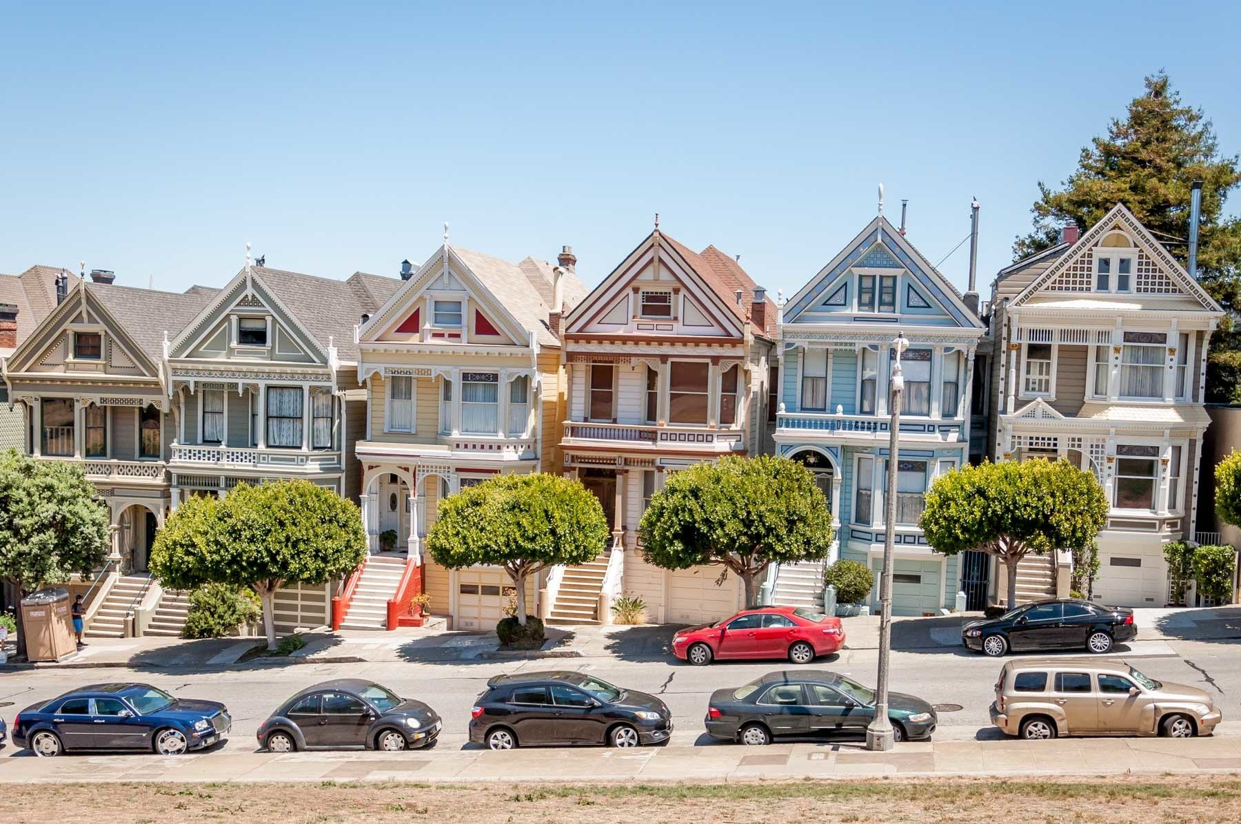 Brightly-painted Victorian homes in San Francisco known as the Painted Ladies