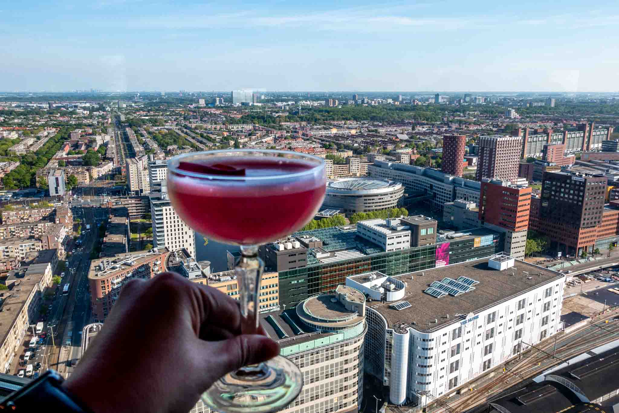 Person holding a cocktail overlooking the skyline of The Hague