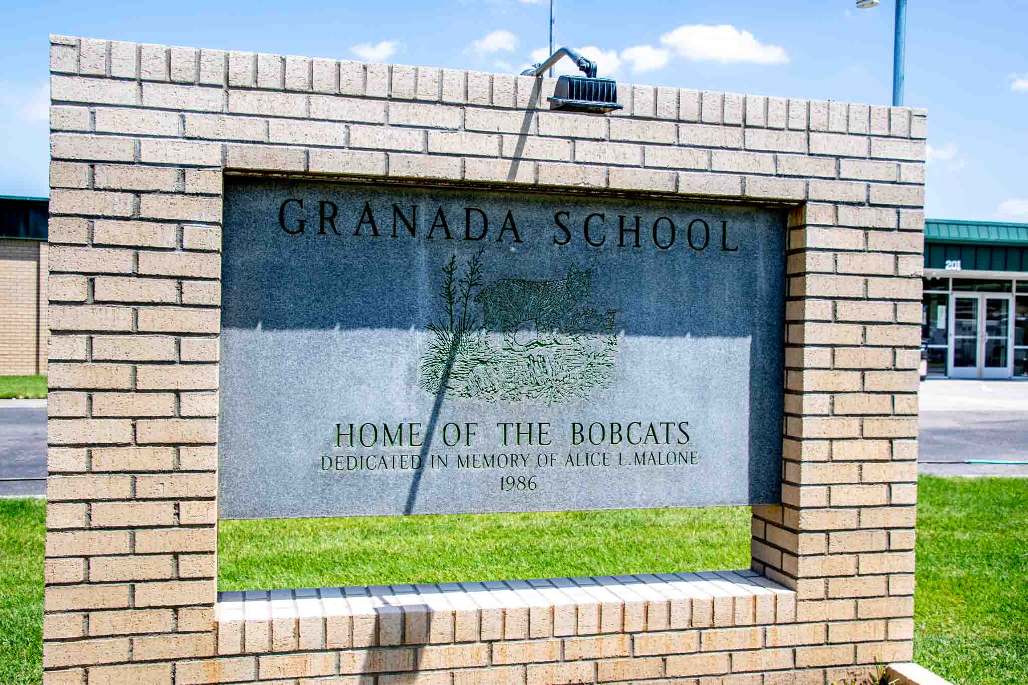 Sign for the Granada School, home of the Bobcats