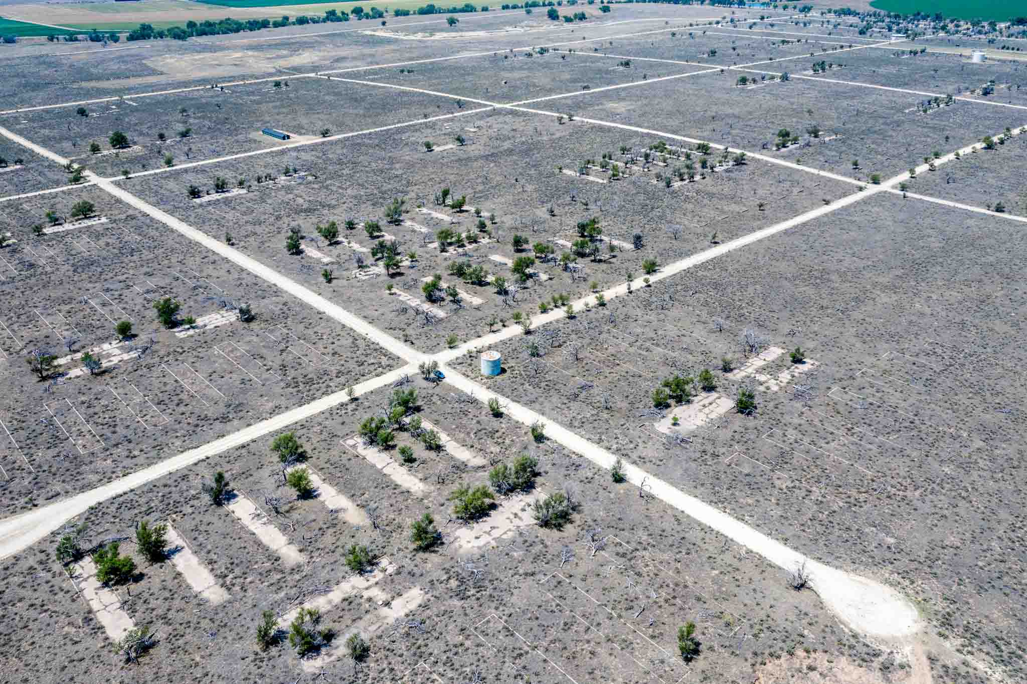 Aerial view of the remains of the Granada War Relocation Center