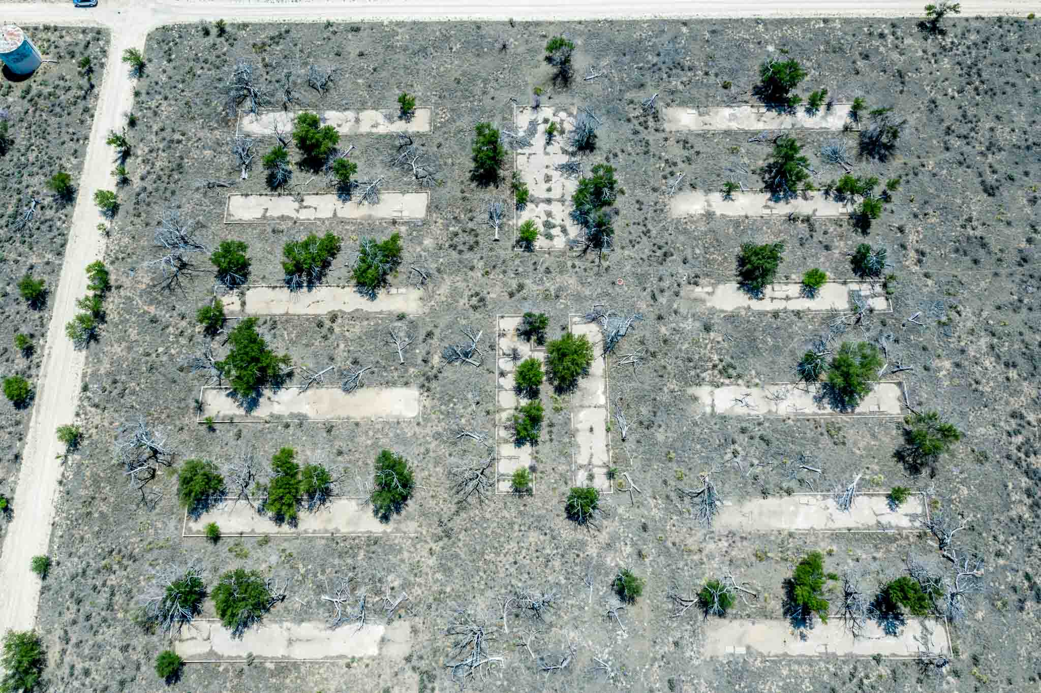 Aerial view of barrack building footprints at Camp Amache, the Granada Relocation Center in Colorado