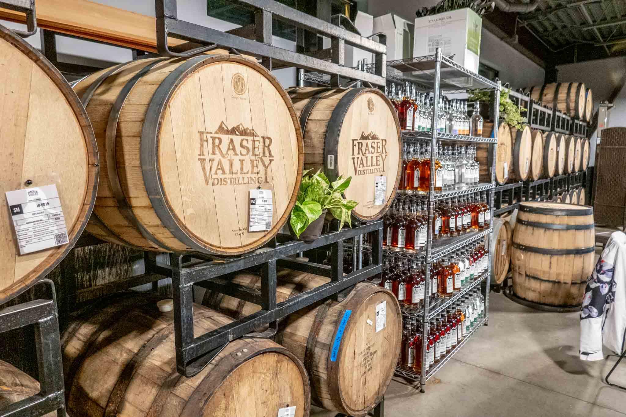 Barrels at Fraser Valley Distilling in Colorado