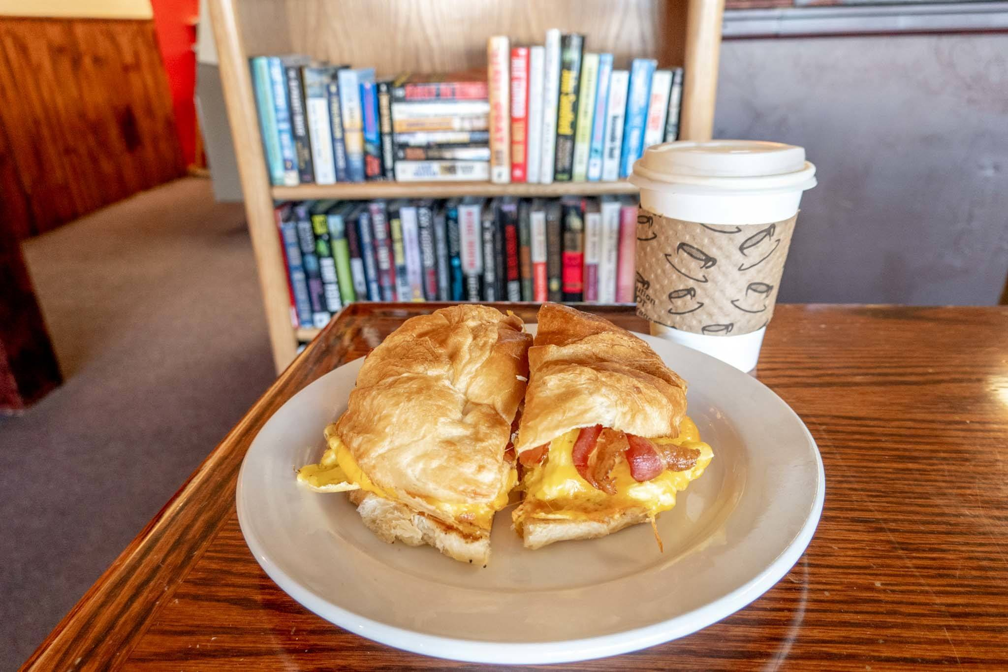 Breakfast sandwich and coffee at the Mid Town Cafe in Granby, Colorado