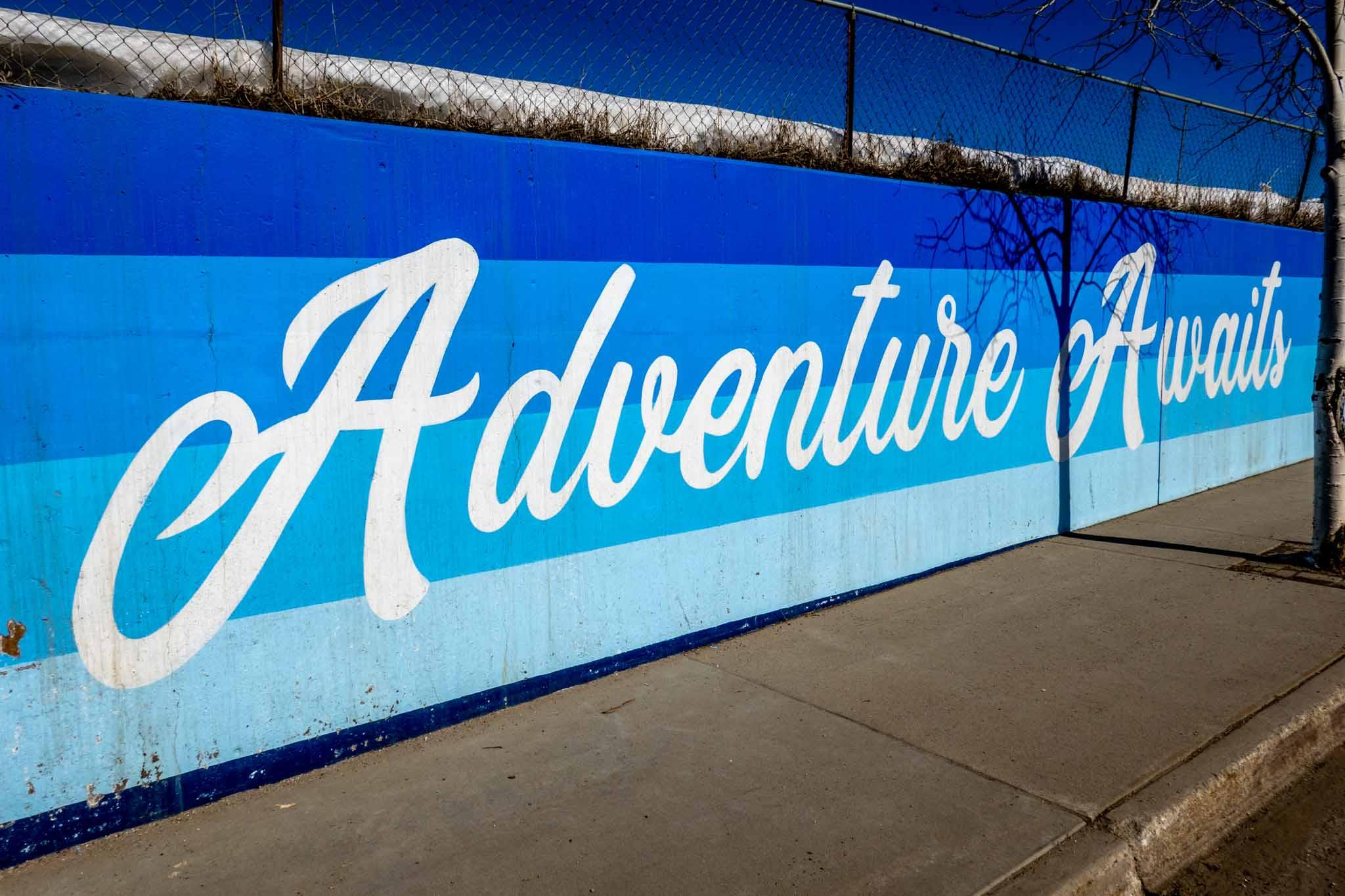 Mural reading Adventure Awaits in Granby, Colorado