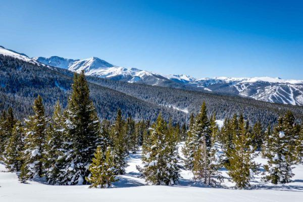 View of the Rocky Mountains in Winter Park, Colorado