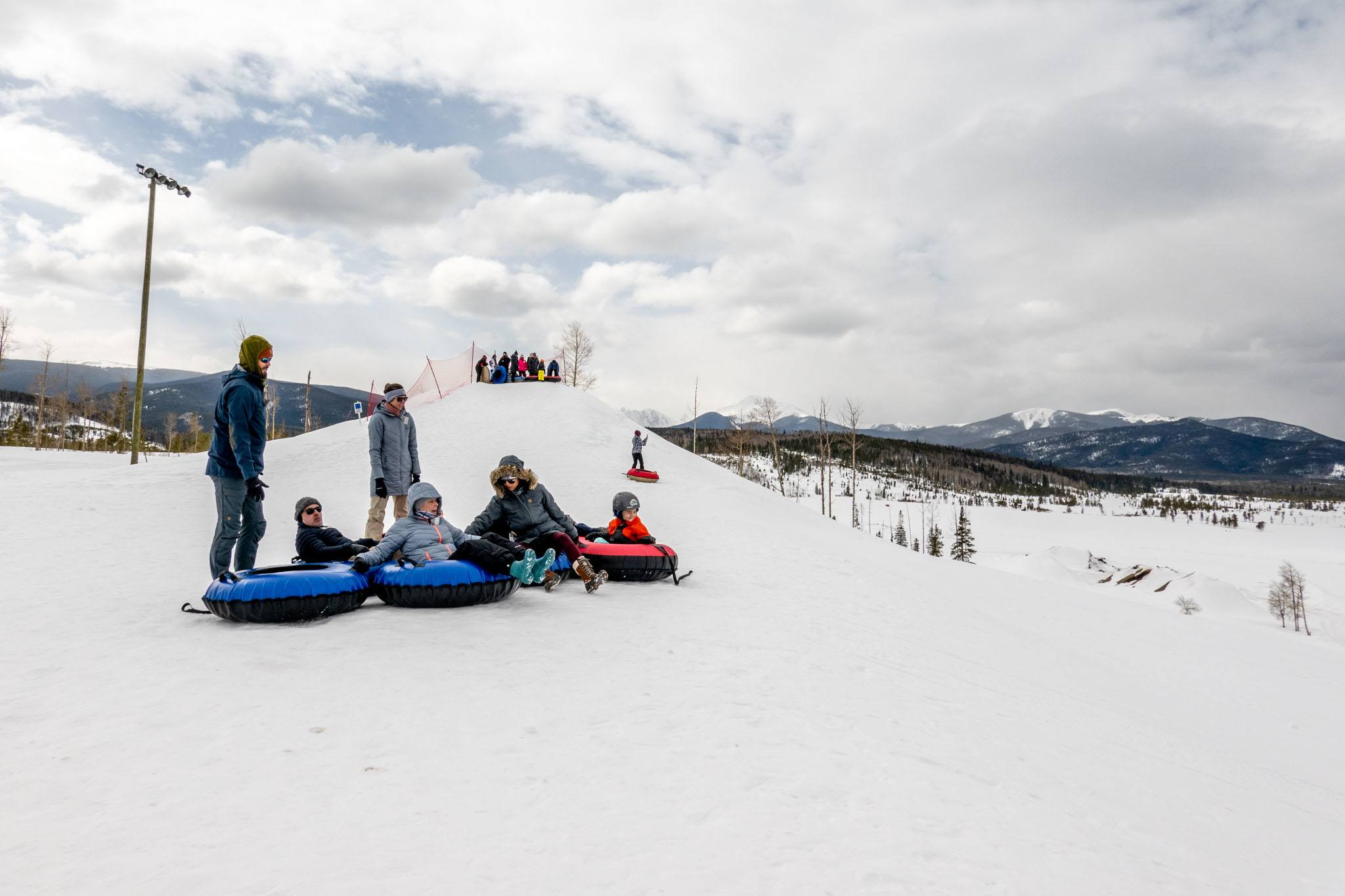Group getting ready for a run down the Fraser Tubing Hill near Winter Park