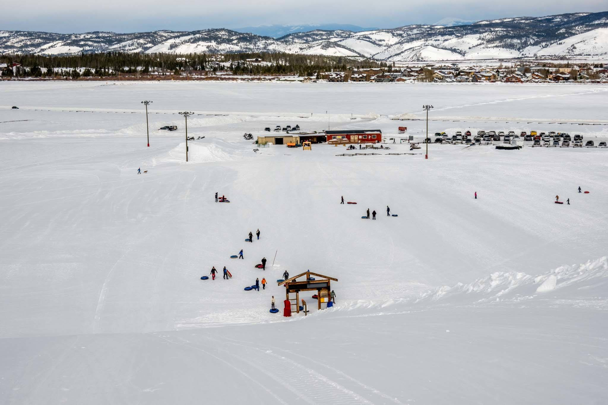 View from the top of the Fraser Tubing Hill in Winter Park