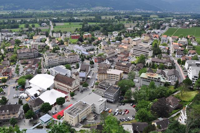Overlooking buildings in the city of Vaduz, Liechtenstein
