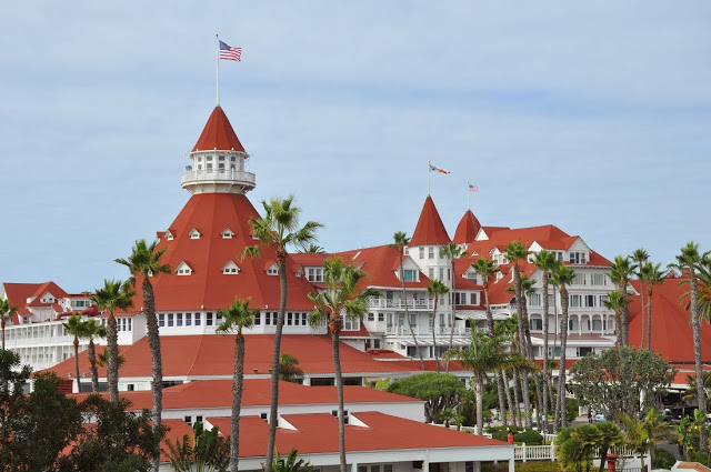 Red roofs of the Hotel del Coronado in San Diego