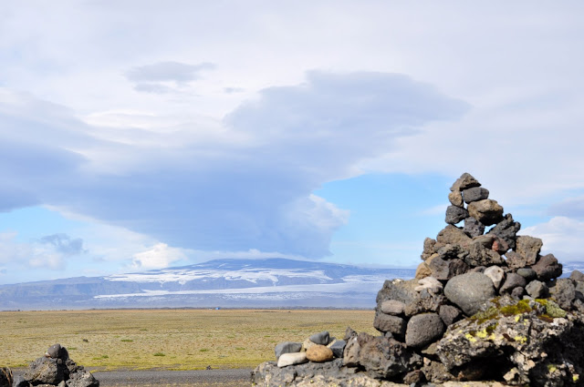 Rock cairn on the sandur in Iceland