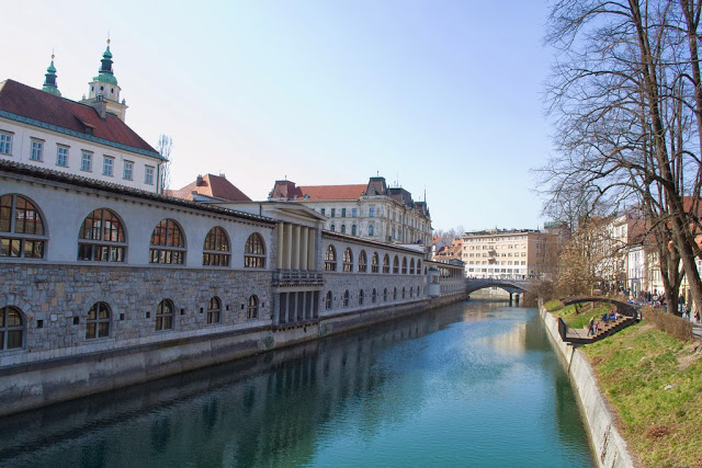 Central Market and river in Ljubljana