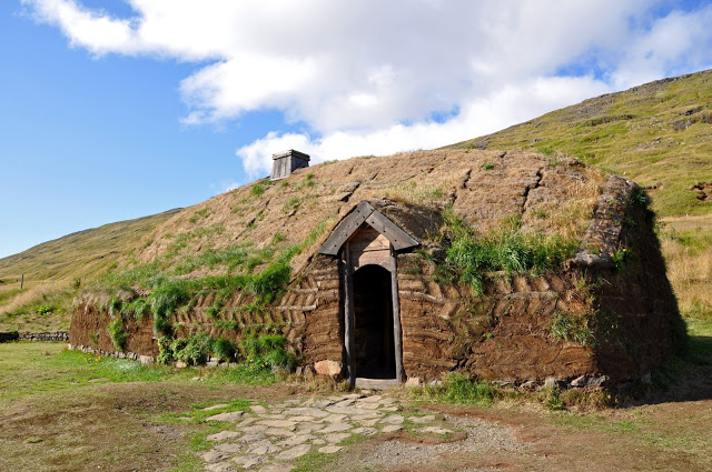 A sod and turf replica of Erik the Red's House at Eiriksstadir, Iceland