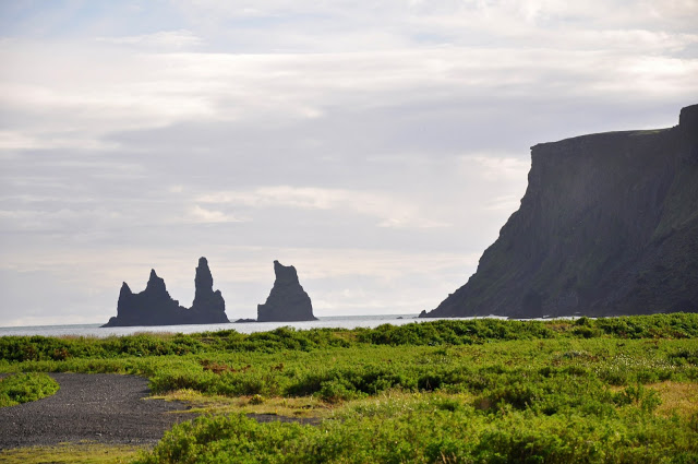 Black Rock Formations at Dyrholaey in Vik