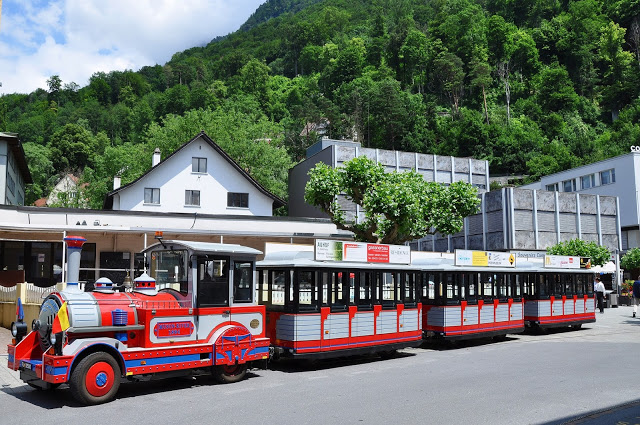 Red and gray city tourist train