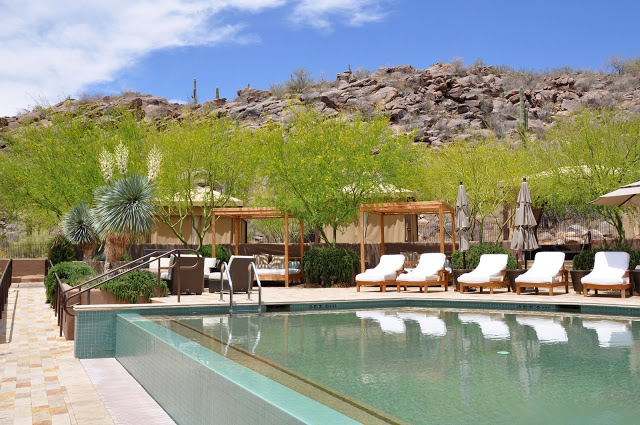 The secluded spa at the Ritz Carlton Dove Mountain has a lavish spa pool