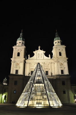 The glass covered fountain of Salzburg in winter