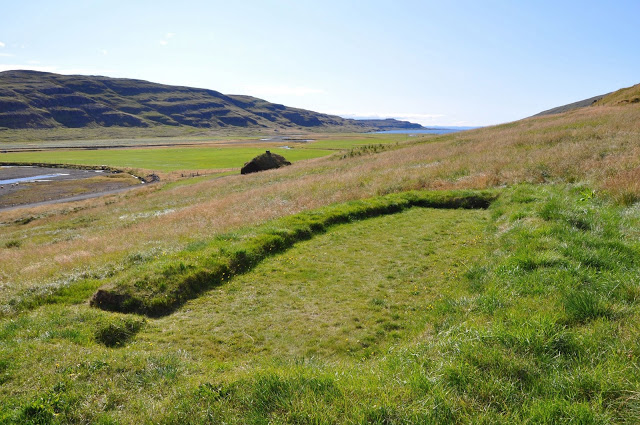 The footprint of the foundation of  Erik The Red's house at Eiriksstadir