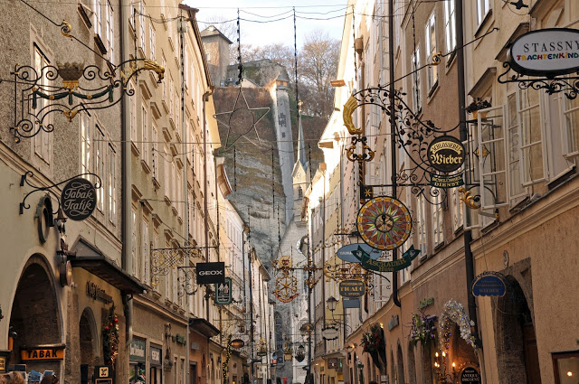 The signs on the Getreidegasse in Salzburg, Austria